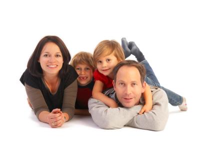 family of four on floor