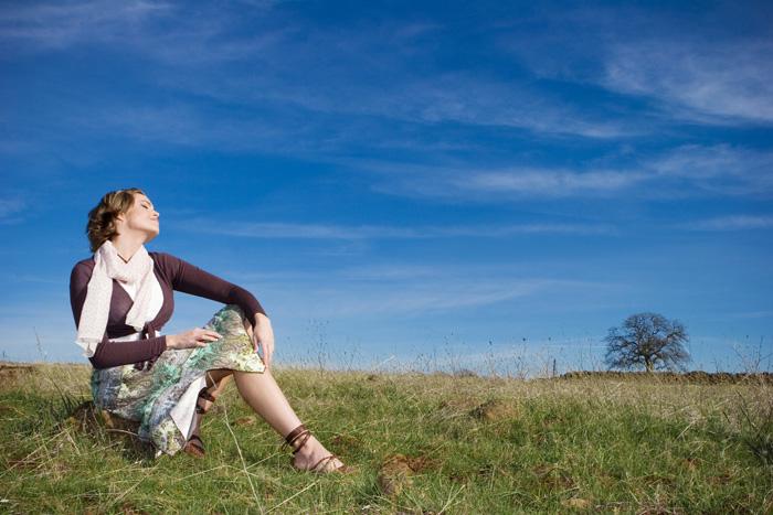 Woman enjoying being alone